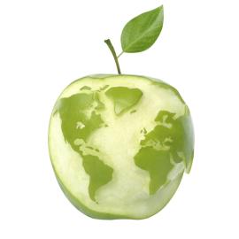 Grüne Erde. Ein Apfel in Form der Erde