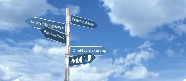 Wegweiser: Pensionskasse, Unterstützungskasse, Pensionsfonds, Direktversicherung, MGJ